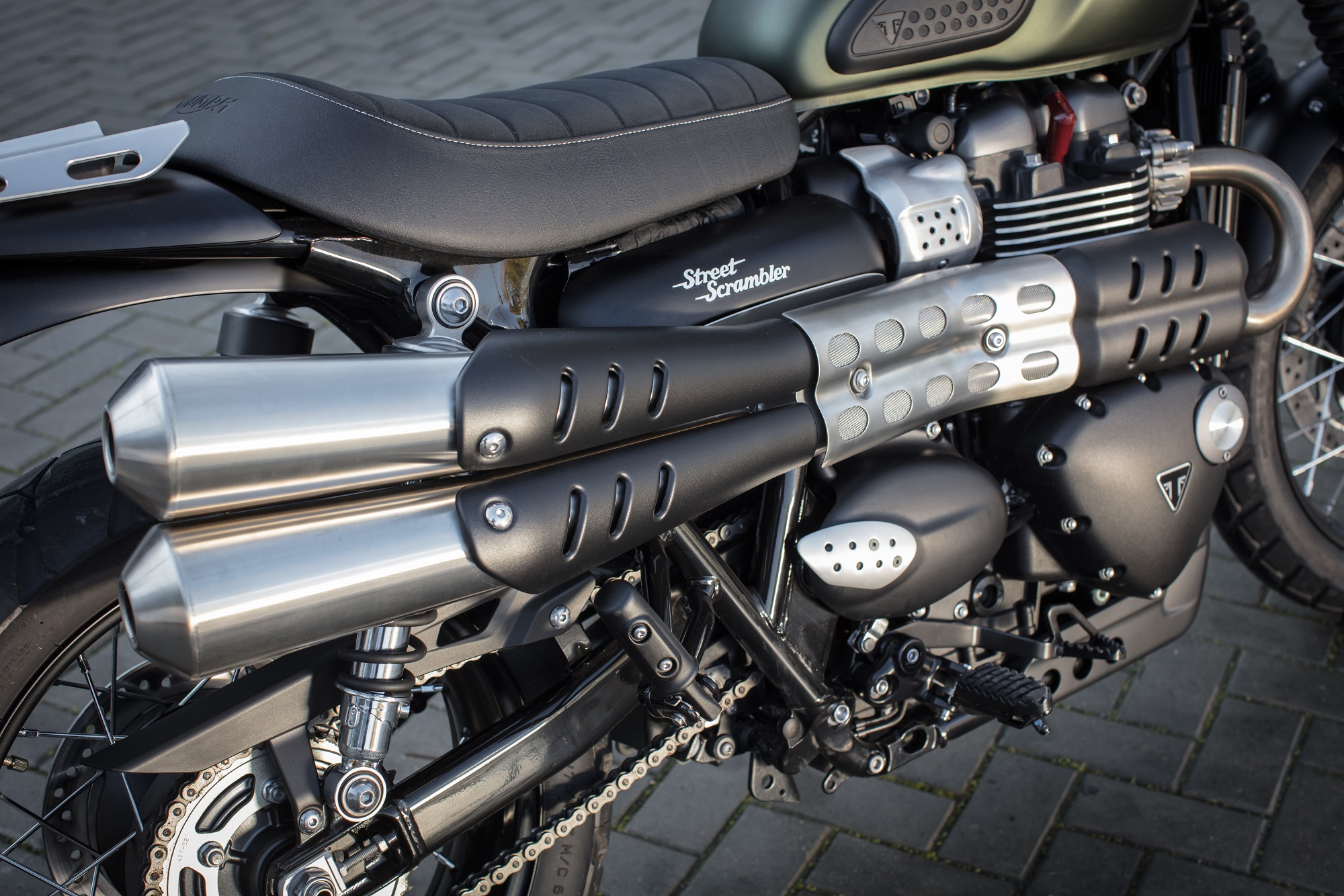 Triumph Street Scrambler engine and exhausts