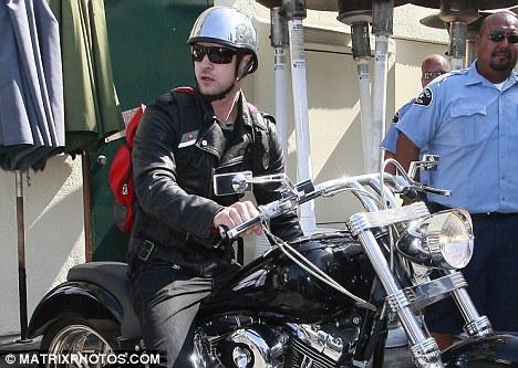 Justin Timberlake takes to two wheels