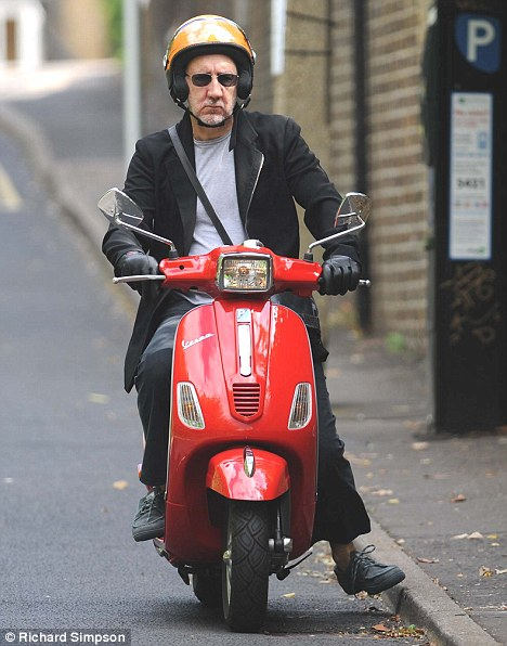 Spotted: Pete Townshend takes to two wheels