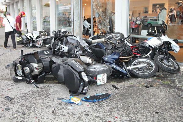 Lamborghini destroys bike dealership