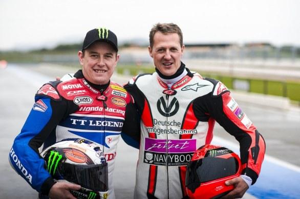 Michael Schumacher back on two wheels