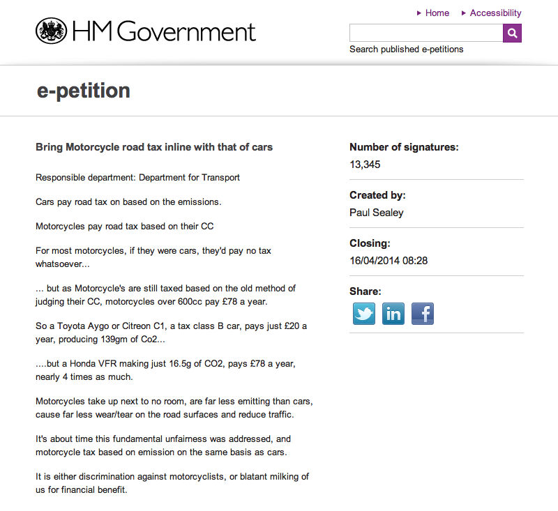 E-petition demands motorcycles be taxed in the same way as cars