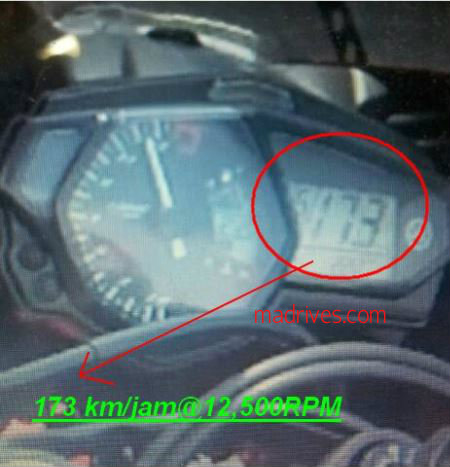 Yamaha R25 reaches almost 110mph