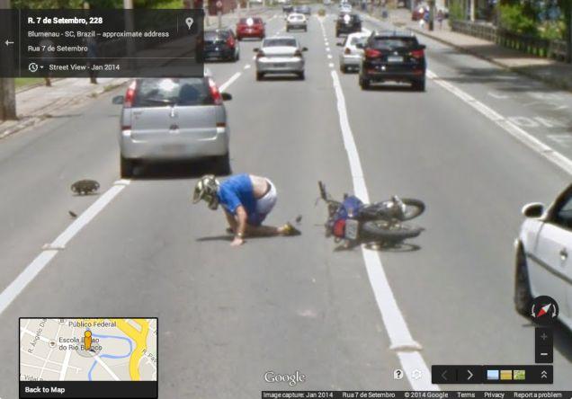 Google Street View captures motorcycle crash
