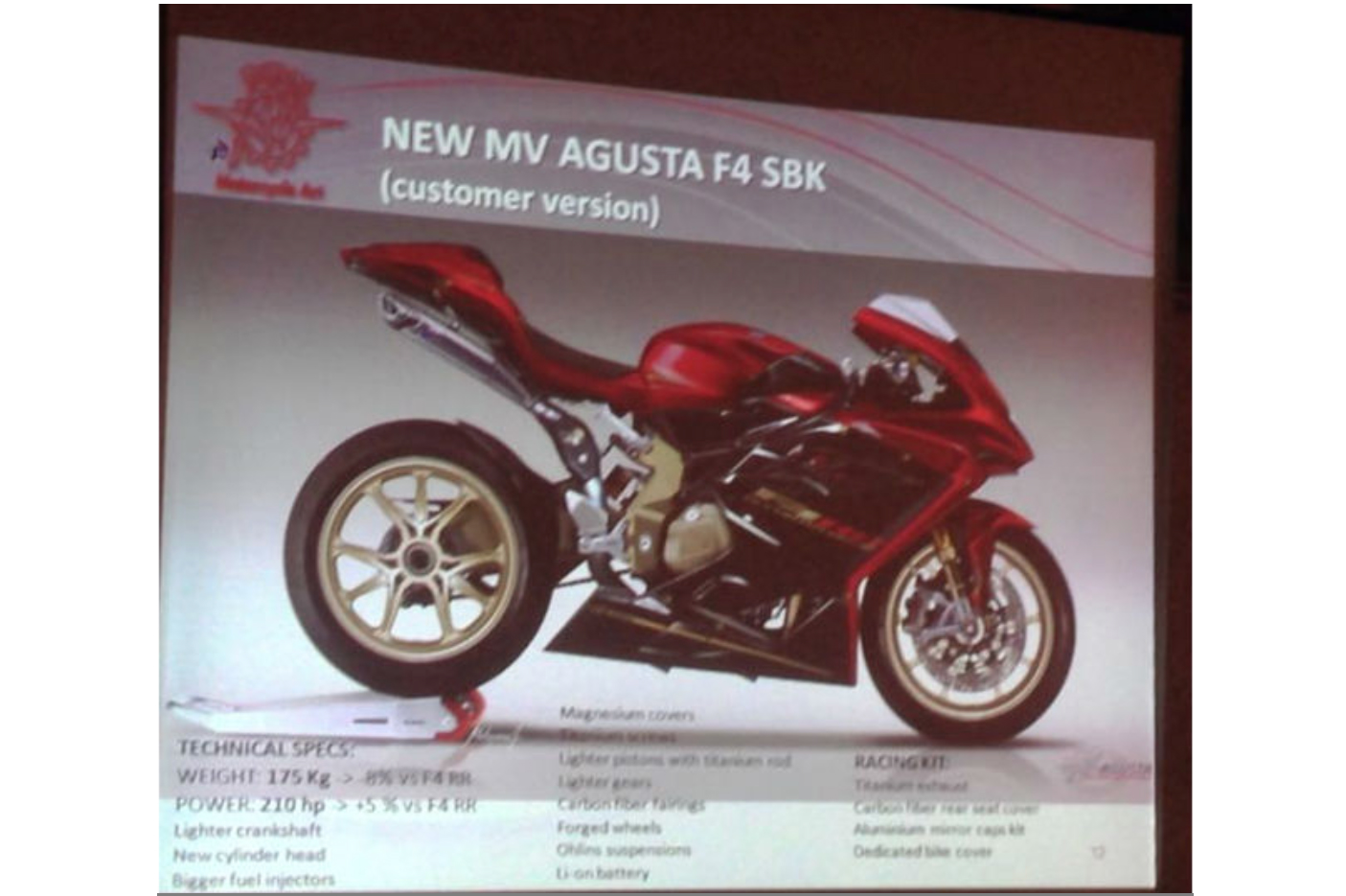 MV Agusta F4 RC superbike confirmed by US price list