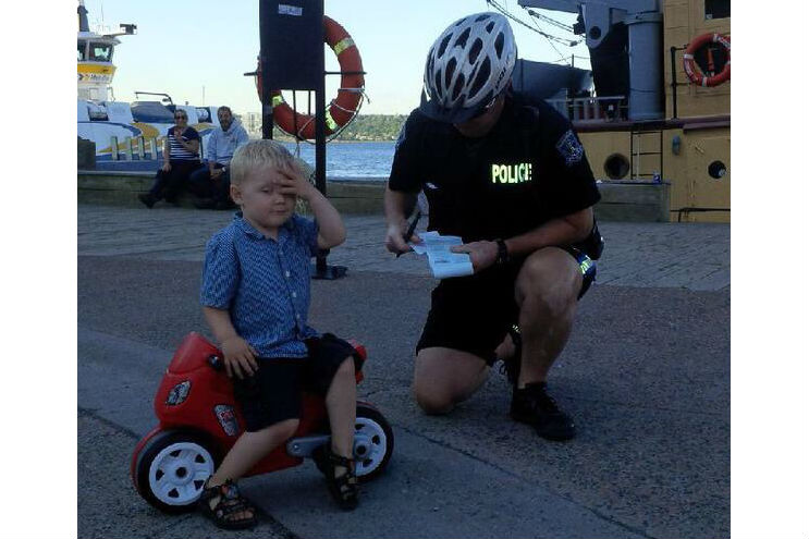 Caption that: 'You know I can seize that and have you take a balance-bike re-test?'