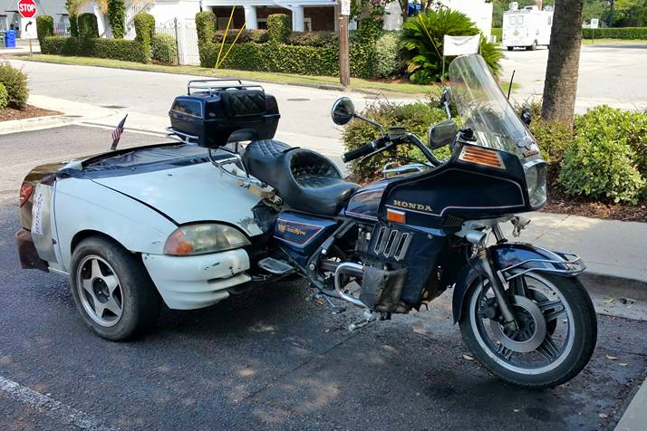 Caption that: For sale Goldwing trike, only two careless owners