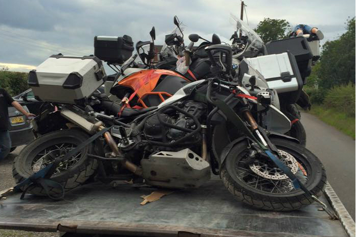 Transport firm delivers bikes stacked like fallen dominoes