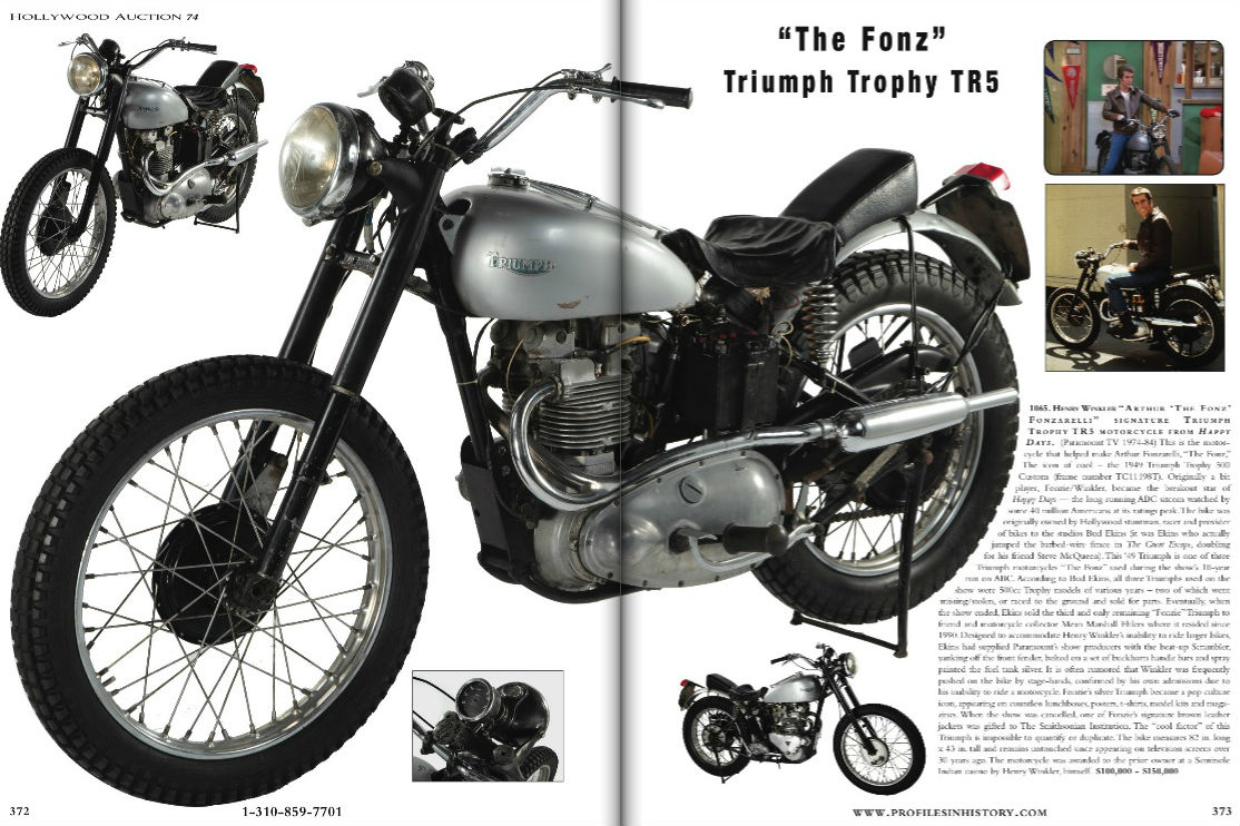 Fonzie's Triumph Trophy up for auction