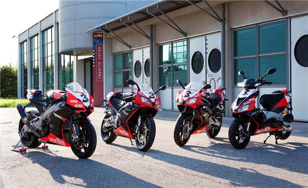 First Look: Aprilia Max Biaggi SR50, RS50 and RS125 replicas