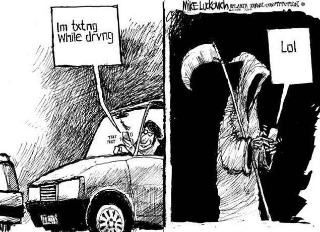 Texting while driving. Funny cartoon
