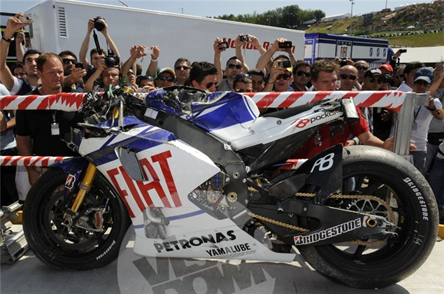 Pictures of Valentino Rossi's M1 after Mugello crash