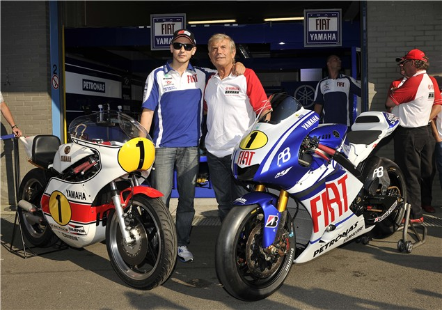 Agostini rides a MotoGP bike at Assen
