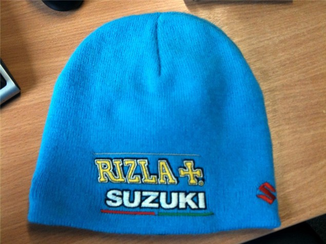 Oh yes. You can win this Rizla Suzuki beanie