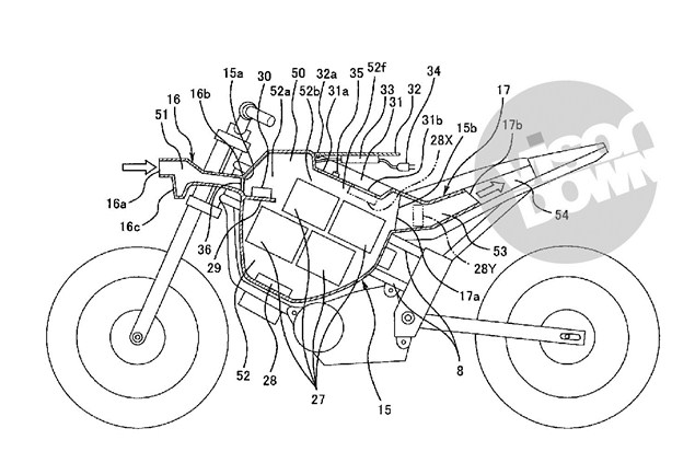 Electric motorcycle patent from Kawasaki