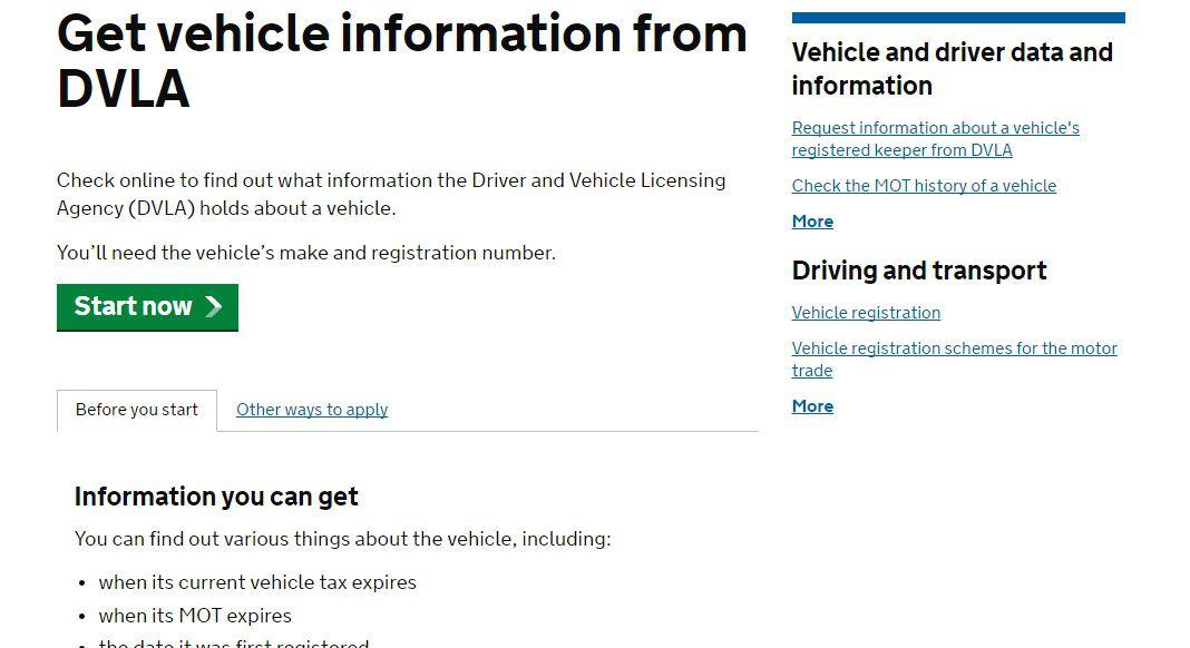 DVLA vehicle check