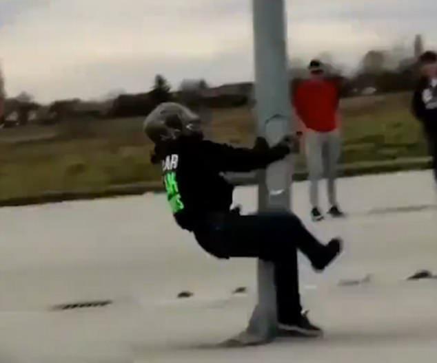 Dizzy stunt rider in a spin...