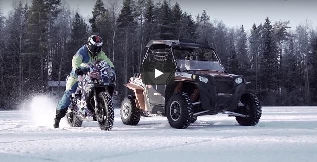 UTV vs Motorbike ON ICE