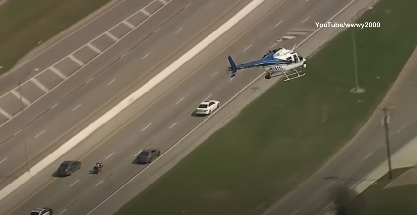 Police motorcycle chase Dallas