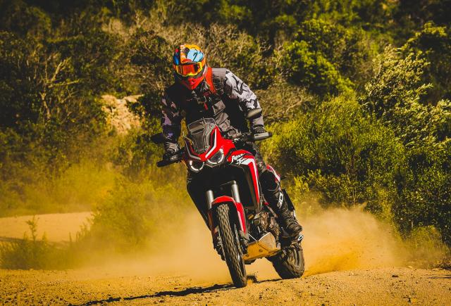 Africa Twin motorcycle skid