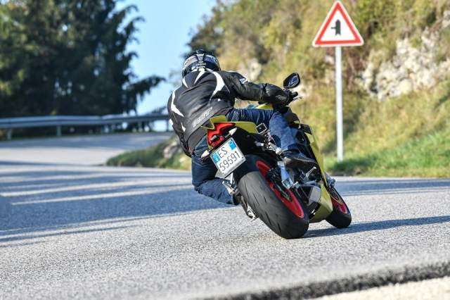 Aprilia RS660 riding up Alpine mountain road