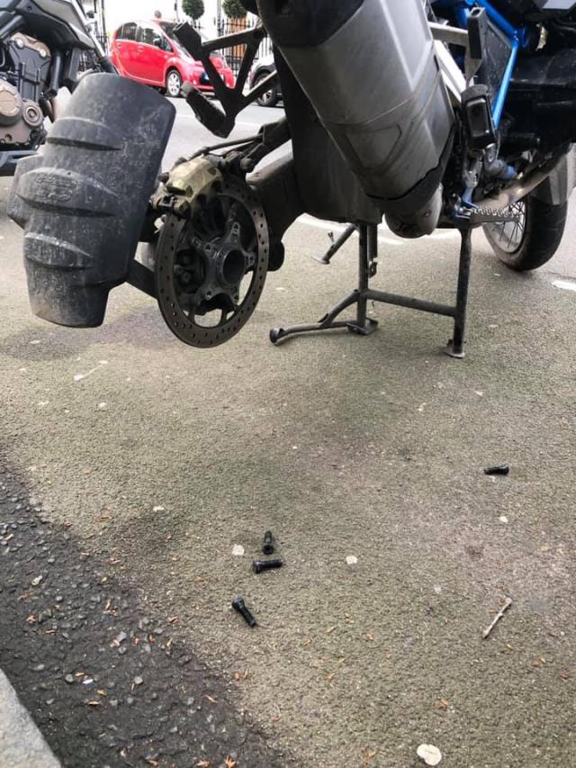BMW GS rear wheel stolen London