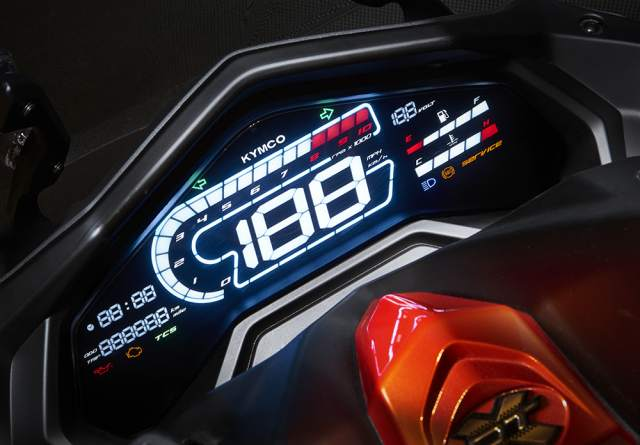 the LCD dash of a motorcycle