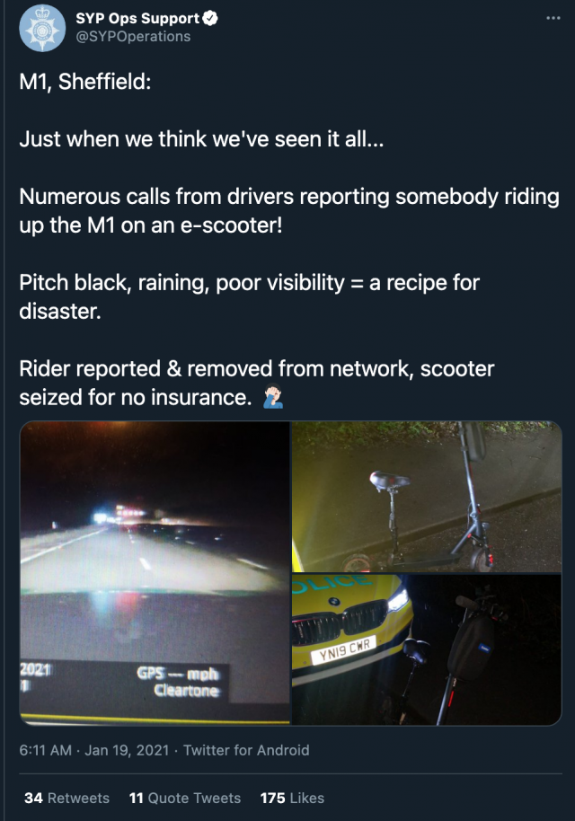 escooter south yorkshire police tweet