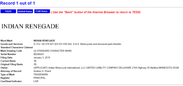 Indian Renegade trademark