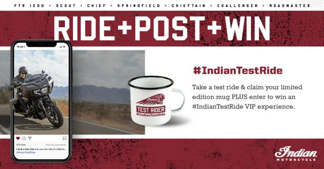 Indian motorcycle test ride win