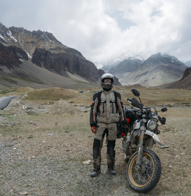 Mountains Nepal and Ducati Scrambler