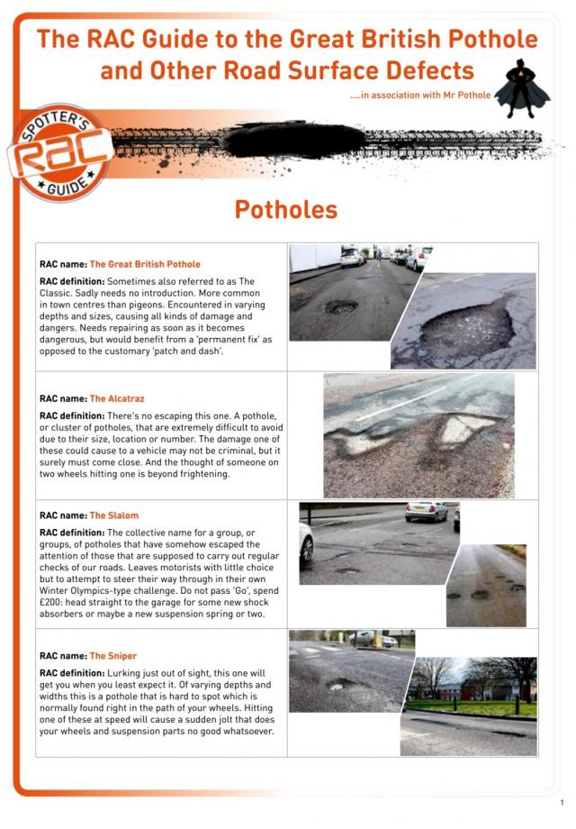 RAC releases a guide to the Great British Pothole