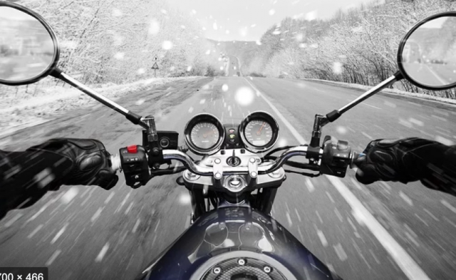 Winter motorcycle.