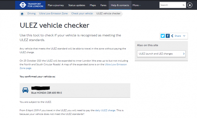 ULEZ vehicle checker