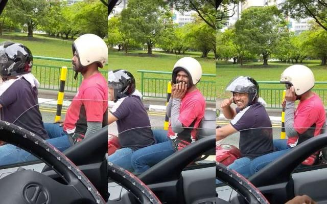 WATCH: Man wearing a motorcycle helmet the wrong way gets corrected