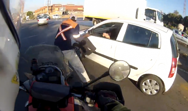 Heroic biker foils shocking South African smash and grab