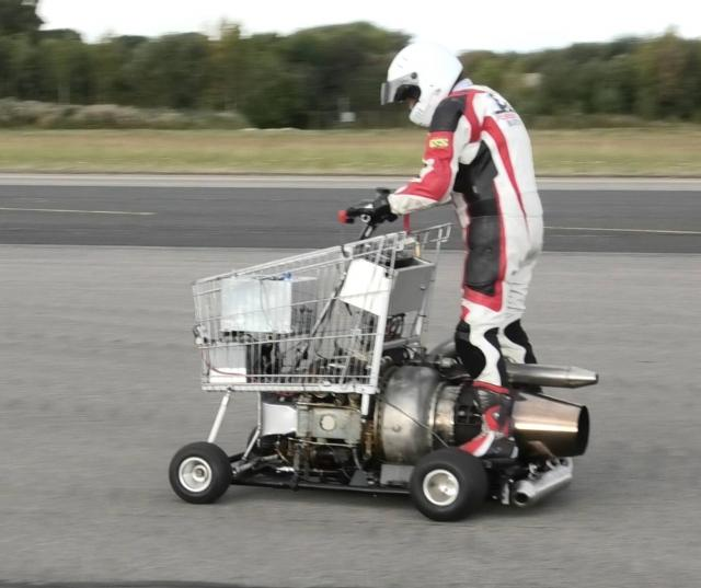 Jet shopping trolley at Straighliners land speed records. Elvington, Nth Yorks. 16 Sept. 2018