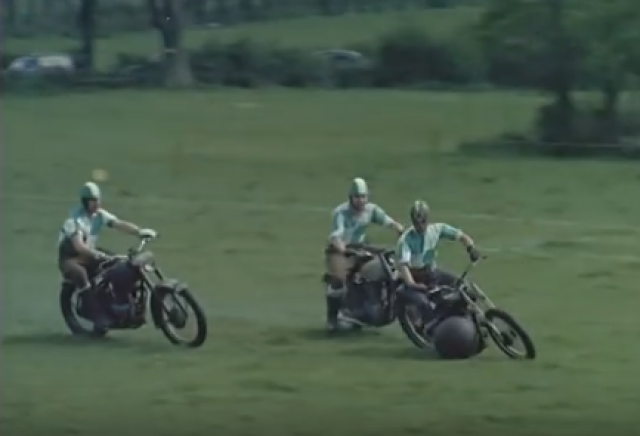 Watch: 1950s motorcycle football match