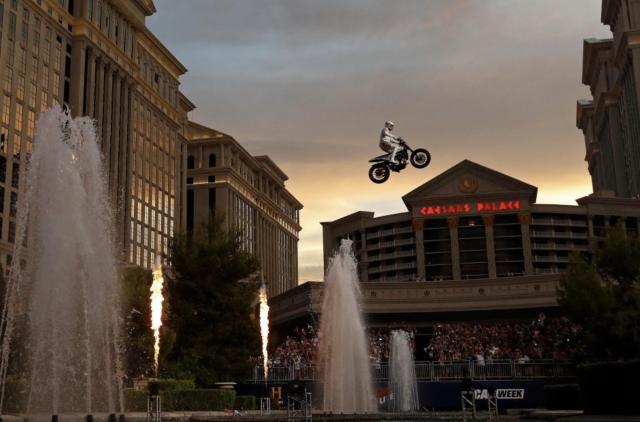 Daredevil motorbike rider recreates three iconic Evel Knievel stunts