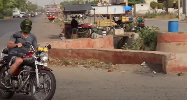 Riding motorcycle India