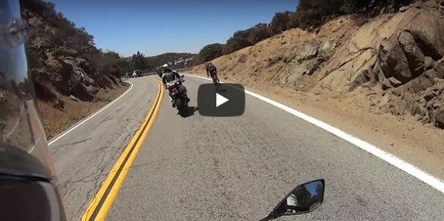 Cyclist overtakes motorbikes at 50mph