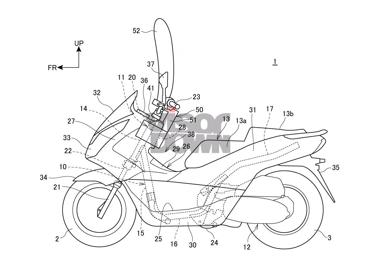 Honda patent vertical motorcycle airbag system