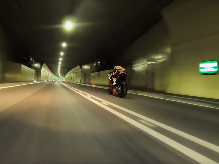 WATCH: Miguel Olivera races KTM's MotoGP bike through a tunnel!