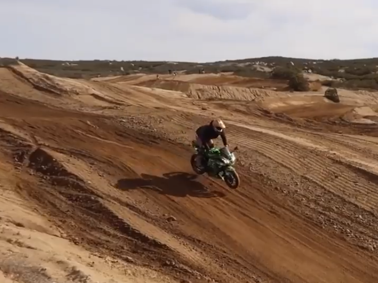 WATCH: Guy take as a Ninja 300 on a motocross track