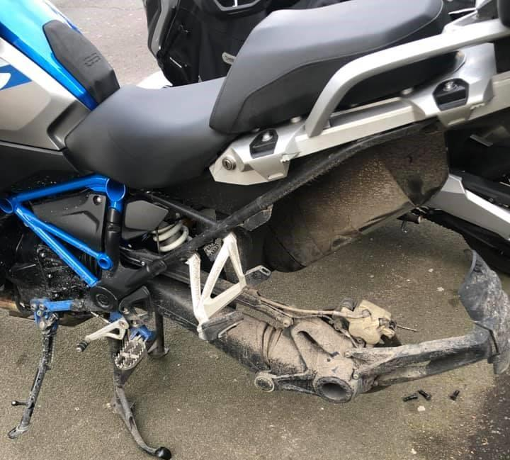 BMW GS rear wheel stolen