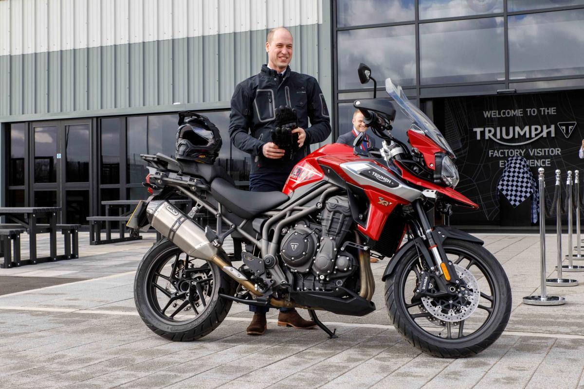 Prince William test rides Tiger 1200 at Triumph's Hinckley HQ