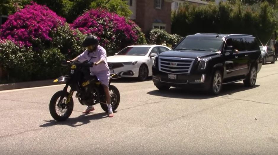 Justin Bieber rides new motorcycle in Beverly Hills, California