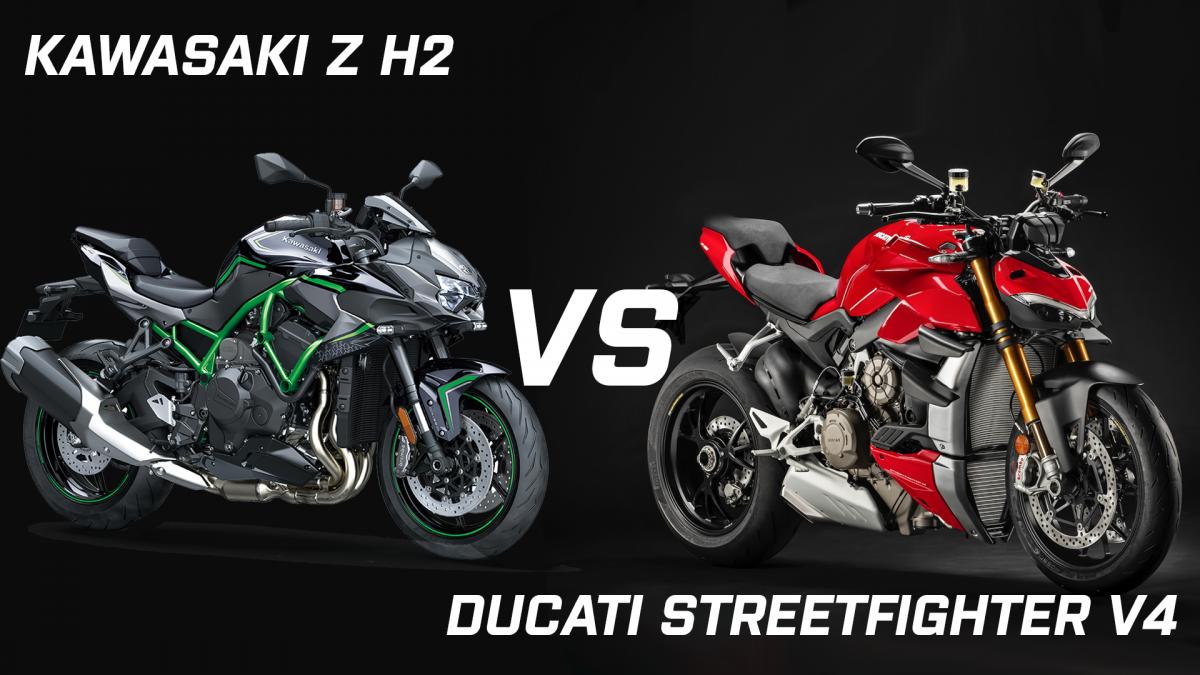 Kawasaki Z h2 vs Ducati Streetfighter V4 head to head
