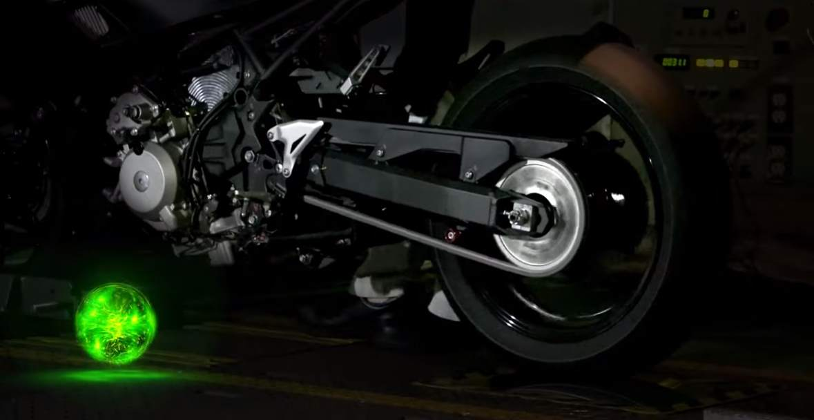 a hybrid motorcycle is tested on a Dyno