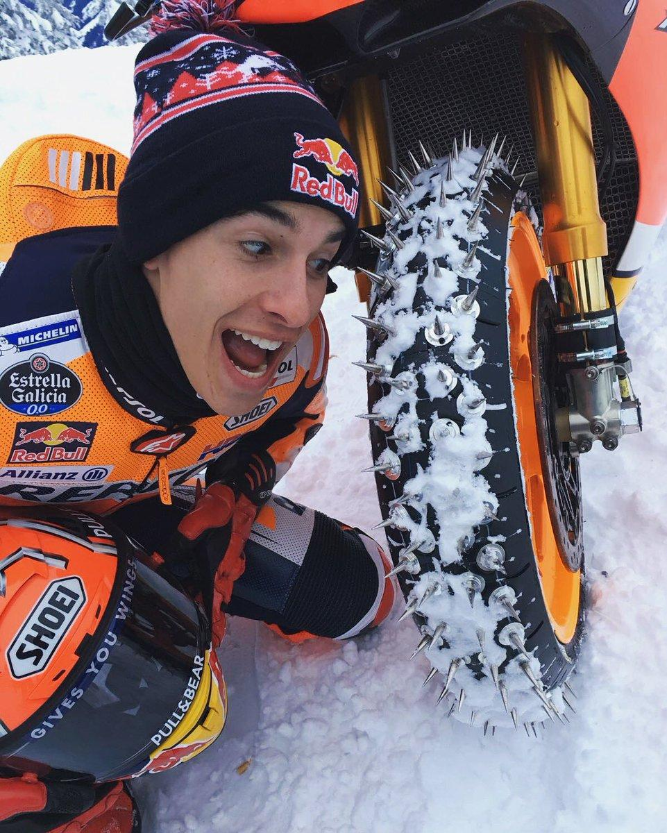 Marquez rips up the snow on his MotoGP bike